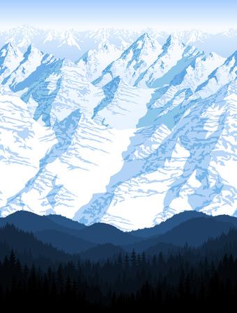 seamless blue beautiful mountains with forest panorama pattern Фото со стока - 109201766