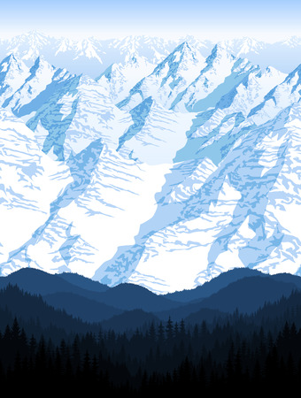seamless blue beautiful mountains with forest panorama pattern