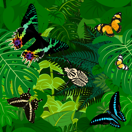 Seamless african tropical rainforest jungle background with butterflies