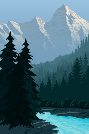 evening in beautiful mountains with river Illustration