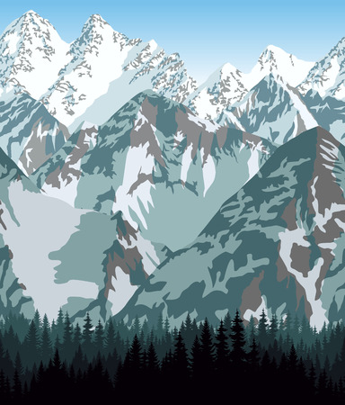 Bhutan mountains forest background texture seamless pattern  イラスト・ベクター素材