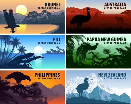 panorama van de Filippijnen, Australië, Nieuw-Zeeland, Brunei Darussalam en Papoea-Nieuw-Guinea Vector Illustratie