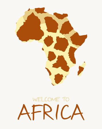 African giraffe map illustration Illustration