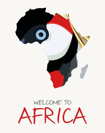 Illustration de la carte de la grue couronnée africaine