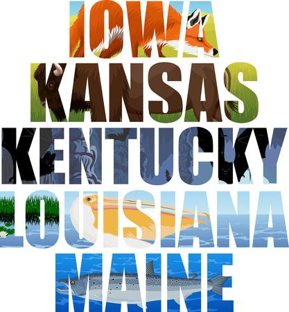 set of American states word with animals - Iowa, Kansas, Kentucky, Louisiana, Maine