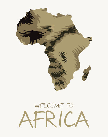 African striped hyena map illustration