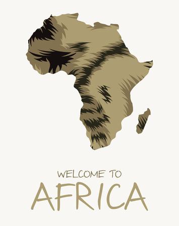 African striped hyena map illustration