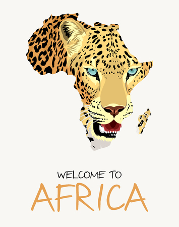 African leopard map illustration