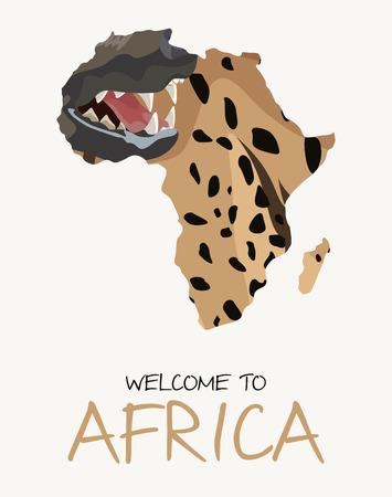 African spotted hyena map illustration Illustration