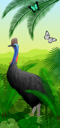 jungle rainforest vertical banner with cassowary and butterfly