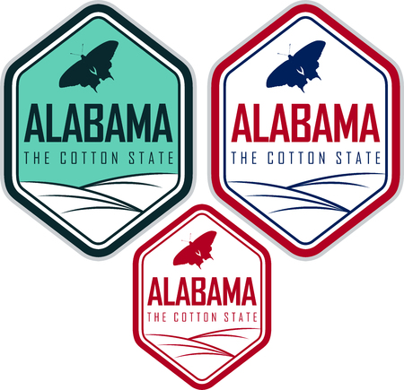 Alabama labels with eastern tiger swallowtail butterfly