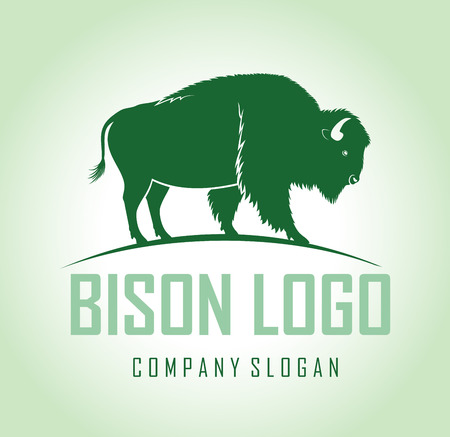 brown zubr buffalo bison logo label