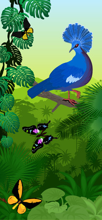Vector jungle rainforest vertical baner with victoria crowned pigeon and new guinea birdwings butterflies