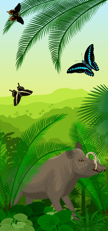 Vector rainforest vertical baner with north sulawesi babirusa and butterflies Illustration