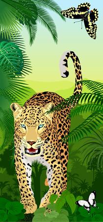Vector jungle rainforest vertical baner with jaguar or leopard and butterflies