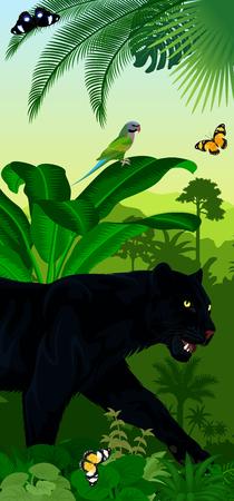 Vector jungle rainforest vertical baner with jaguar or leopard black panther