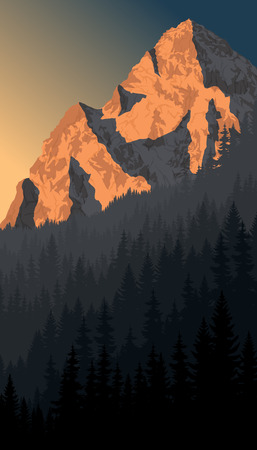 vector morning peack in alps mountain woodland landscape