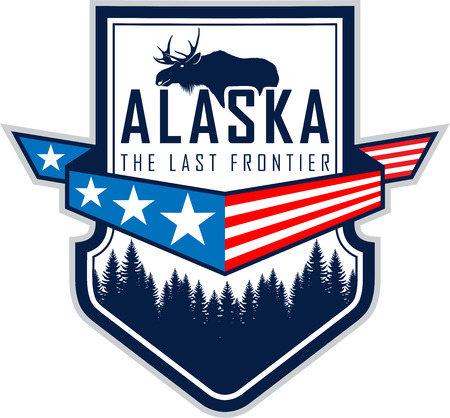 Alaska forest and moose Иллюстрация