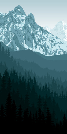 vector morning peack in mountain woodland landscape