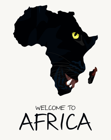 African black panther map illustration