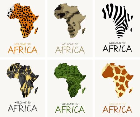 vector african textures map illustration - cheetah, radiated tortoise, zebra, giraffe, crocodile, striped hyena Иллюстрация