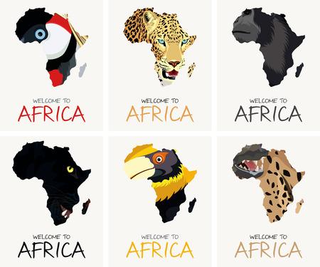 vector textures with african textures, yellow-billed hornbill