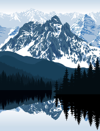 Vector illustration - lake in mountains Ilustracja