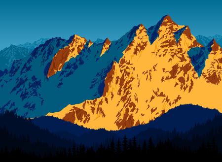 sunset landscape at rocky mountains