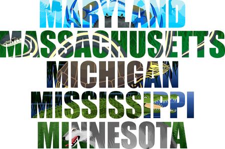 Michigan, Massachusetts, Maryland, Mississippi, Minnesota 矢量图像