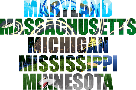 Michigan, Massachusetts, Maryland, Mississippi, Minnesota Illustration