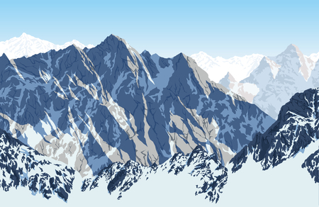 Vector Himalayan mountain Lhotse - South face view from Everest Base Camp Trek. Sagarmatha National Park, Nepal.  イラスト・ベクター素材