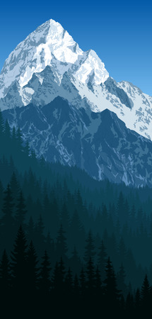 vector morning in winter mountains