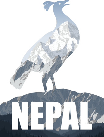 Nepal illustration with himalayan monal