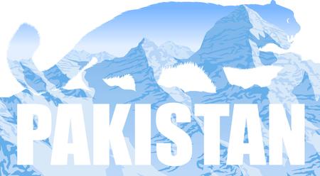 vector Pakistan illustration with mountains snow leopard