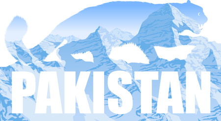 vector Pakistan illustration with mountains snow leopard