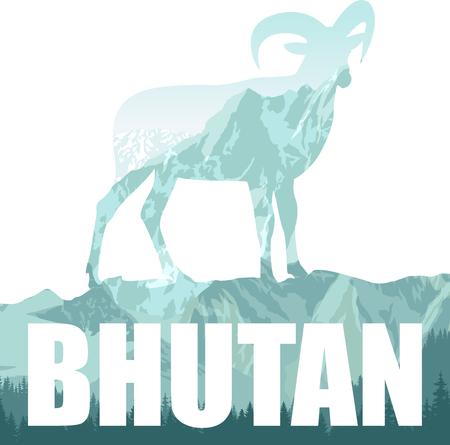 vector Bhutan illustration with himalayan mountain goats