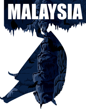 vector malaysia illustration with carst cave and bats Ilustração