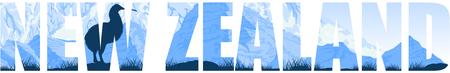 vector illustration New Zealand with kiwi bird