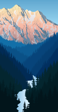 vector in beautiful mountains with river and peaks Illustration