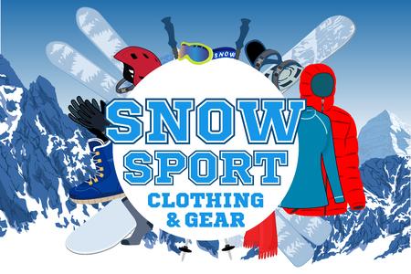 vector snowsport gear store emblem logo Illustration