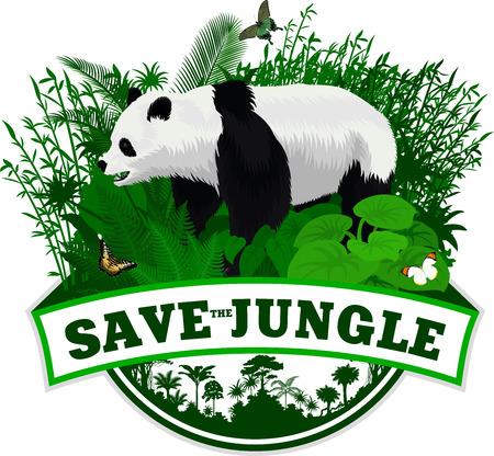 Vector Jungle Emblem with giant panda bear