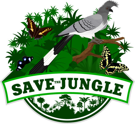 Vector Jungle Emblem with White-bellied go-away-bird turaco and butterflies Ilustración de vector