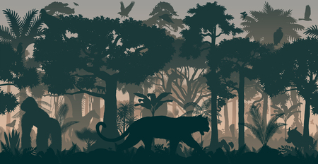 Rainbow forest background with animals