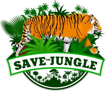 Vector Jungle Emblem with sumatran tiger