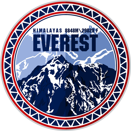 Vektor-Everest-Berg-Logo. Emblem mit dem höchsten Pfirsich der Welt. Bergsteigen-Etikett-Abbildung.