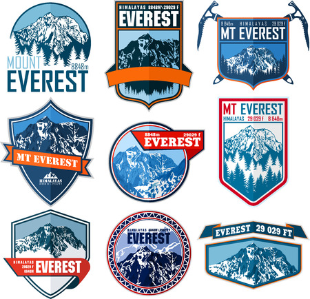 set of Vector Everest mountain logo. Emblem with highest peack in world. Mountaineering label illustration.