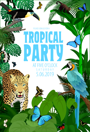 Vector Summer Rainforest Jungle Tropical Beach Party Flyer Design Card with Toucan, macaw