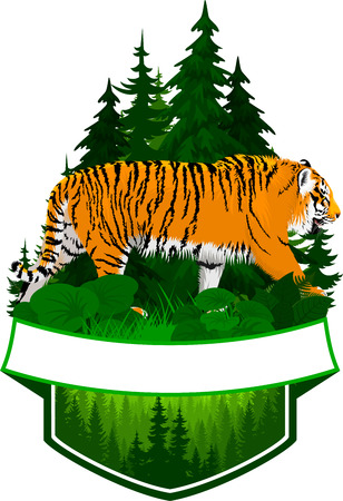 vector woodland emblem with tiger