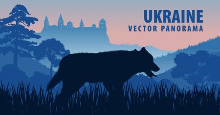 vector panorama of Ukraine with gray wolf Illustration