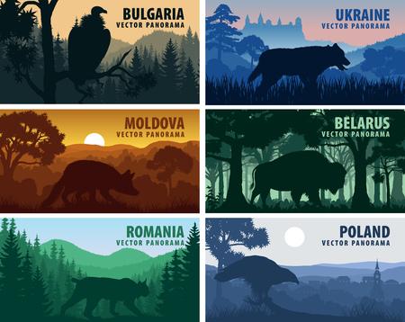 Eastern Europe countries: Ukraine, Bulgaria, Moldova, Poland, Belarus, Belarus with animals 版權商用圖片 - 122423110
